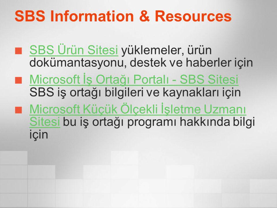 SBS Information & Resources SBS Ürün SitesiSBS Ürün Sitesi yüklemeler, ürün dokümantasyonu, destek ve haberler için Microsoft İş Ortağı Portalı - SBS