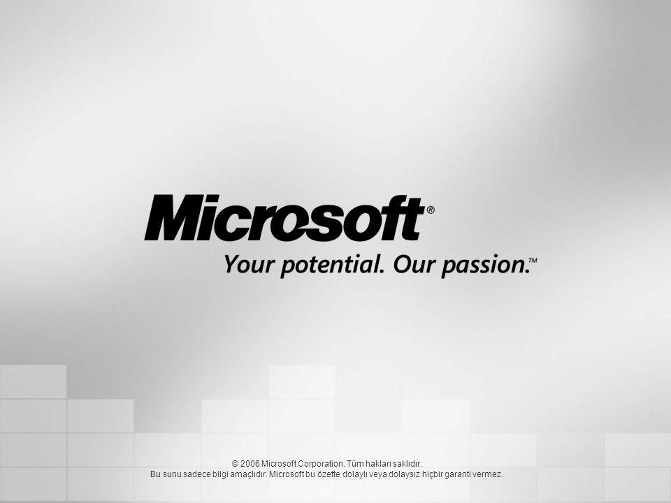 © 2006 Microsoft Corporation. Tüm hakları saklıdır. Bu sunu sadece bilgi amaçlıdır. Microsoft bu özette dolaylı veya dolaysız hiçbir garanti vermez.