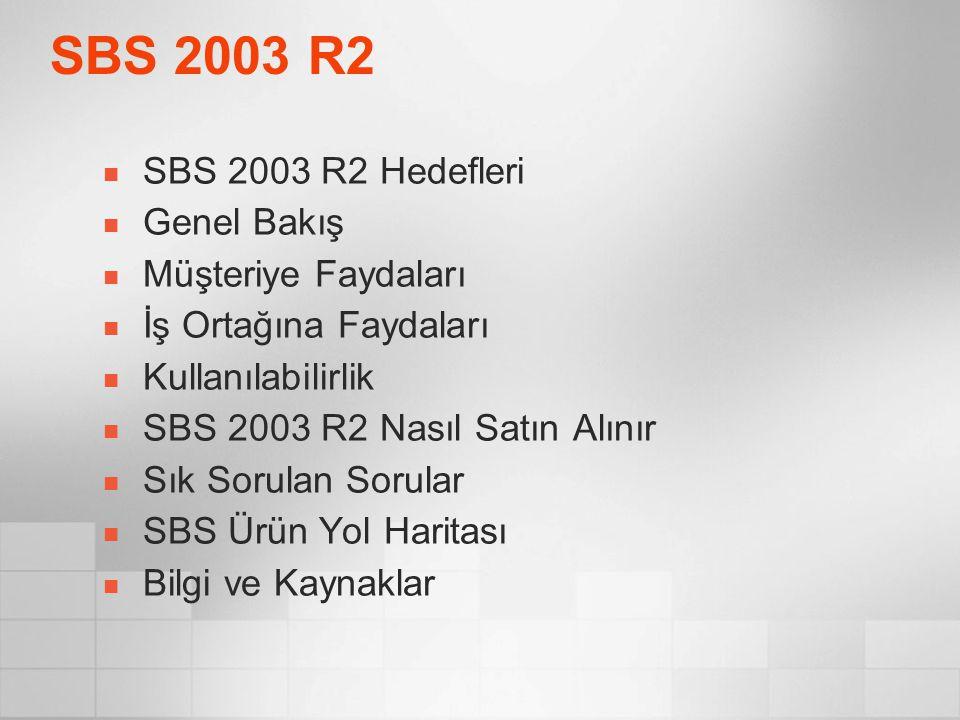 SBS 2003 R2 SBS 2003 R2 Hedefleri Genel Bakış Müşteriye Faydaları İş Ortağına Faydaları Kullanılabilirlik SBS 2003 R2 Nasıl Satın Alınır Sık Sorulan S