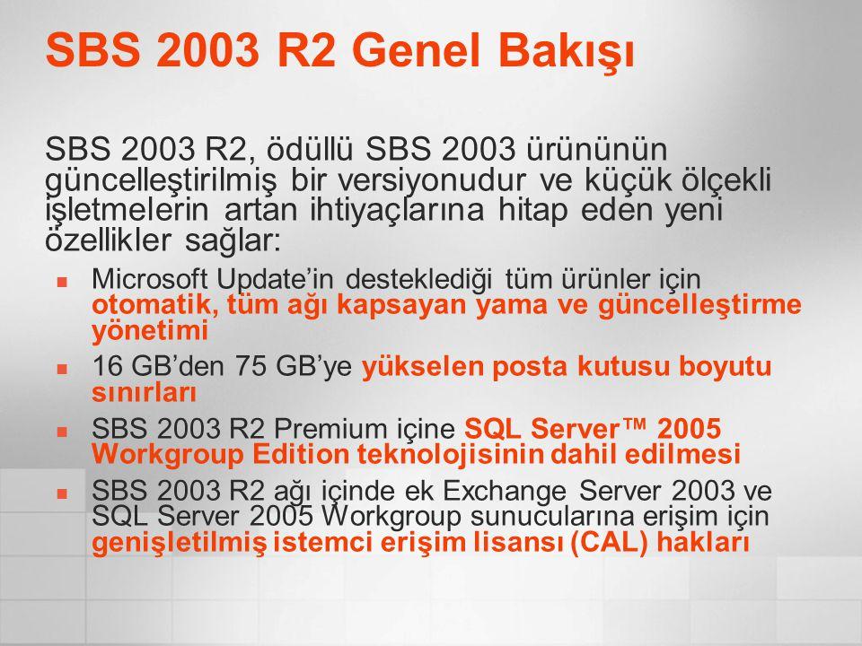 SBS 2003 R2 Genel Bakışı SBS 2003 R2, ödüllü SBS 2003 ürününün güncelleştirilmiş bir versiyonudur ve küçük ölçekli işletmelerin artan ihtiyaçlarına hi