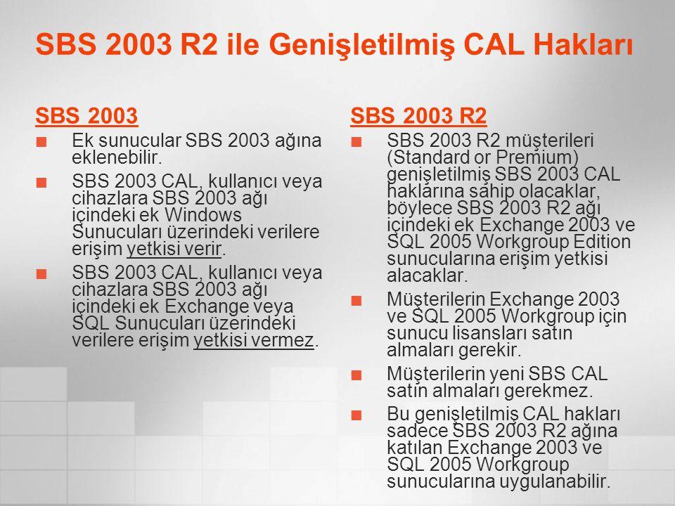 SBS 2003 R2 ile Genişletilmiş CAL Hakları SBS 2003 Ek sunucular SBS 2003 ağına eklenebilir. SBS 2003 CAL, kullanıcı veya cihazlara SBS 2003 ağı içinde