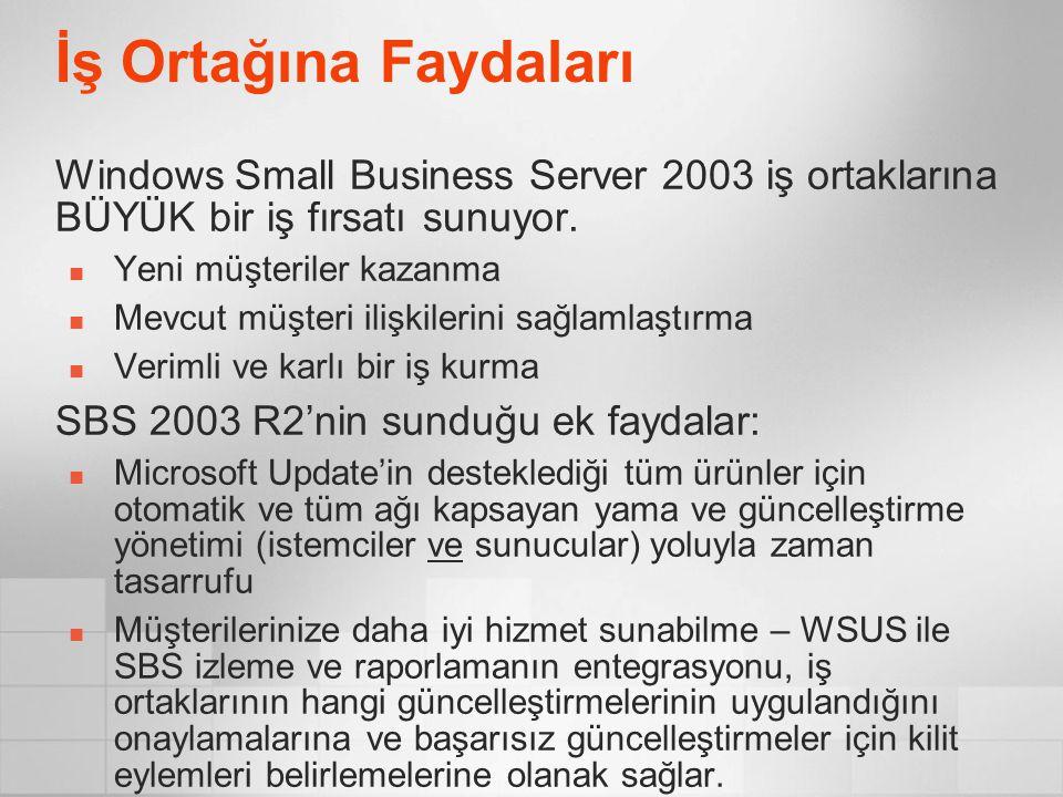İş Ortağına Faydaları Windows Small Business Server 2003 iş ortaklarına BÜYÜK bir iş fırsatı sunuyor. Yeni müşteriler kazanma Mevcut müşteri ilişkiler