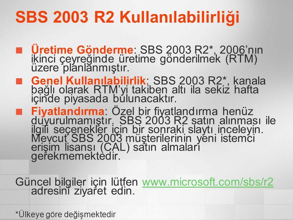 SBS 2003 R2 Kullanılabilirliği Üretime Gönderme: SBS 2003 R2*, 2006'nın ikinci çeyreğinde üretime gönderilmek (RTM) üzere planlanmıştır. Genel Kullanı
