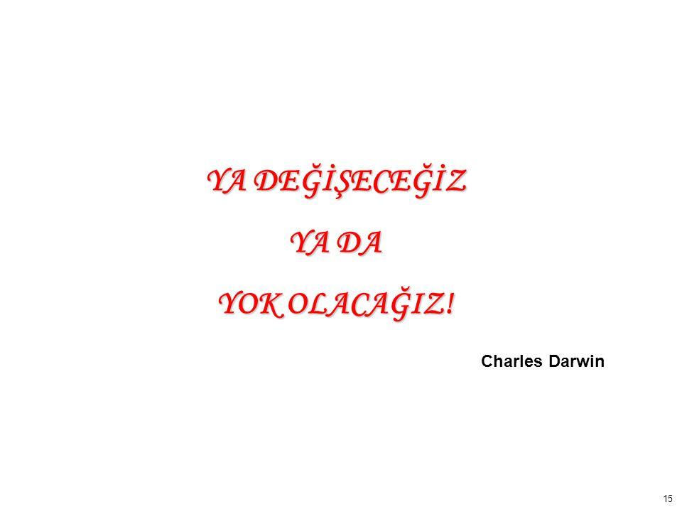 15 YA DEĞİŞECEĞİZ YA DA YOK OLACAĞIZ! Charles Darwin
