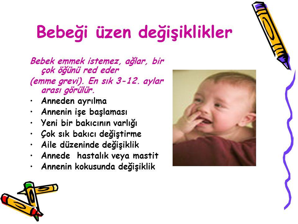 Bebeği üzen değişiklikler Bebek emmek istemez, ağlar, bir çok öğünü red eder (emme grevi). En sık 3-12. aylar arası görülür. Anneden ayrılma Annenin i