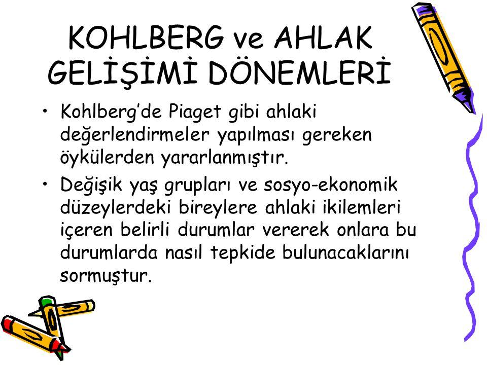 KOHLBERG ve AHLAK GELİŞİMİ DÖNEMLERİ Kohlberg'de Piaget gibi ahlaki değerlendirmeler yapılması gereken öykülerden yararlanmıştır. Değişik yaş grupları