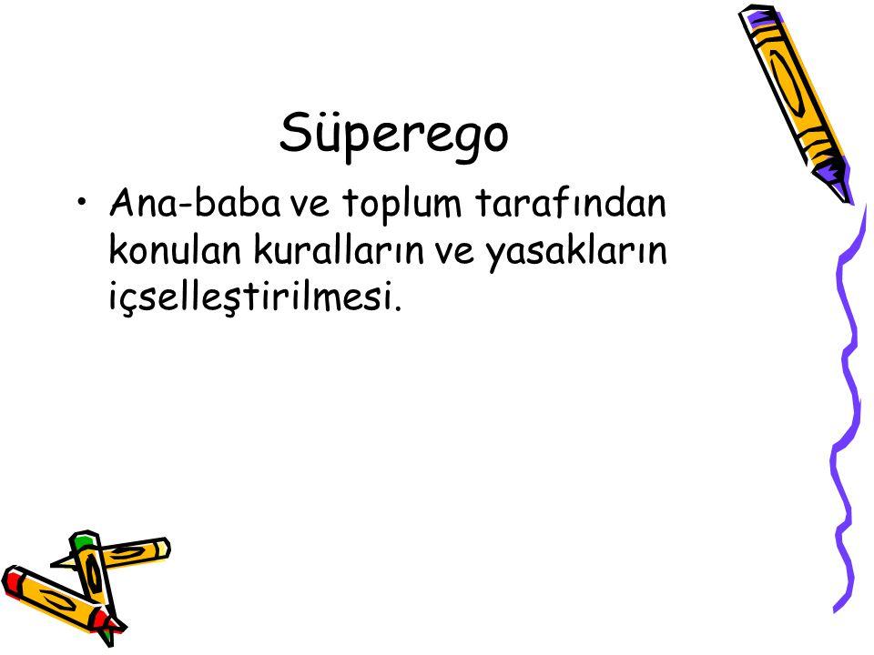Süperego Ana-baba ve toplum tarafından konulan kuralların ve yasakların içselleştirilmesi.