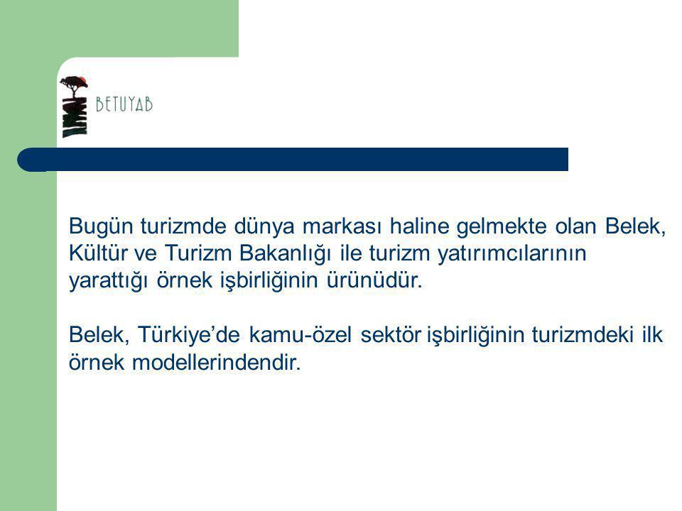 Belek, Türk turizminin uluslararası turizm pazarında pay almasını sağlayan birinci bölgesi olan Antalya'nın en önemli destinasyonu ve turizm merkezidir.