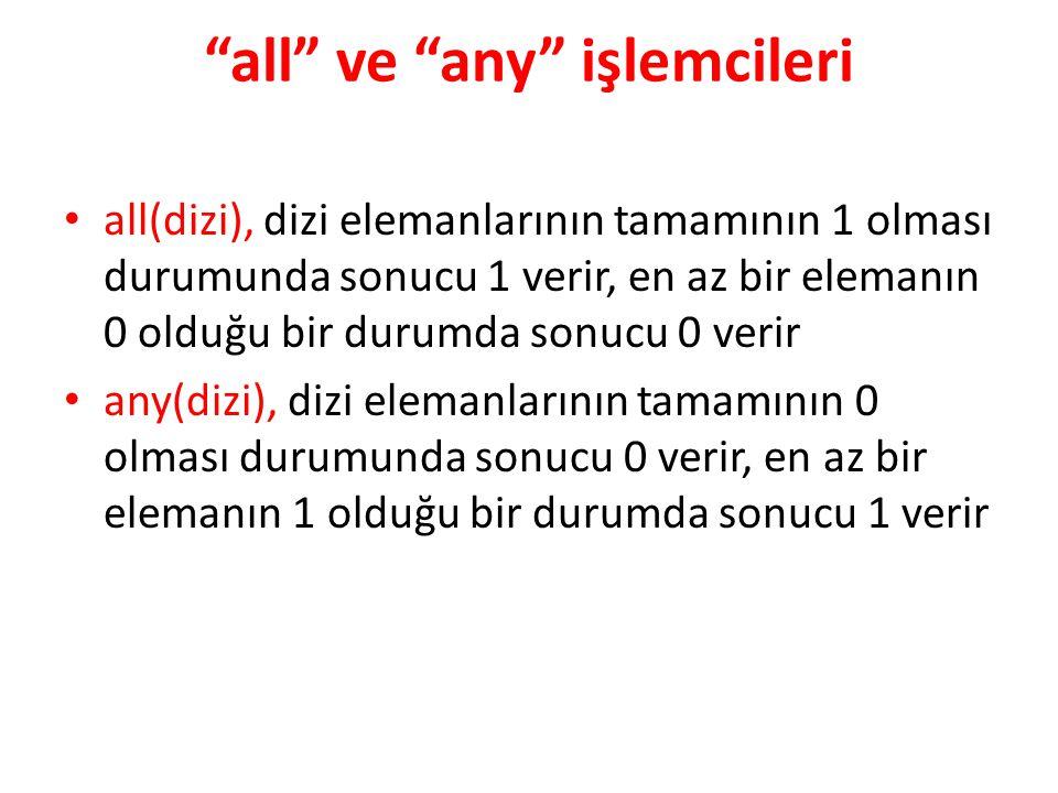 """""""all"""" ve """"any"""" işlemcileri all(dizi), dizi elemanlarının tamamının 1 olması durumunda sonucu 1 verir, en az bir elemanın 0 olduğu bir durumda sonucu 0"""