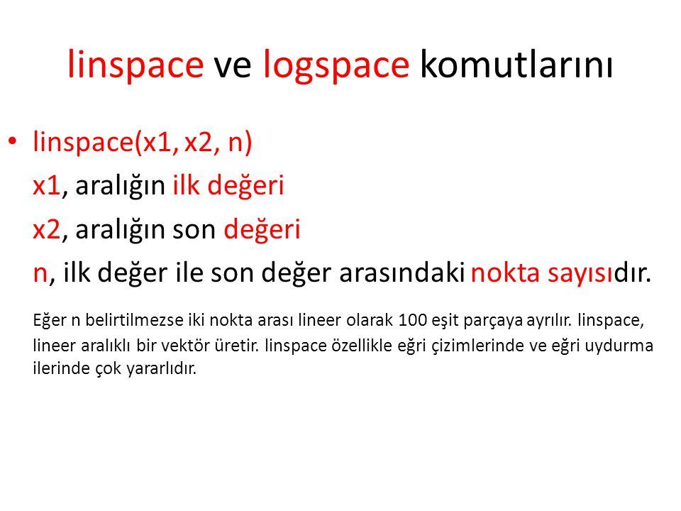 linspace ve logspace komutlarını linspace(x1, x2, n) x1, aralığın ilk değeri x2, aralığın son değeri n, ilk değer ile son değer arasındaki nokta sayıs