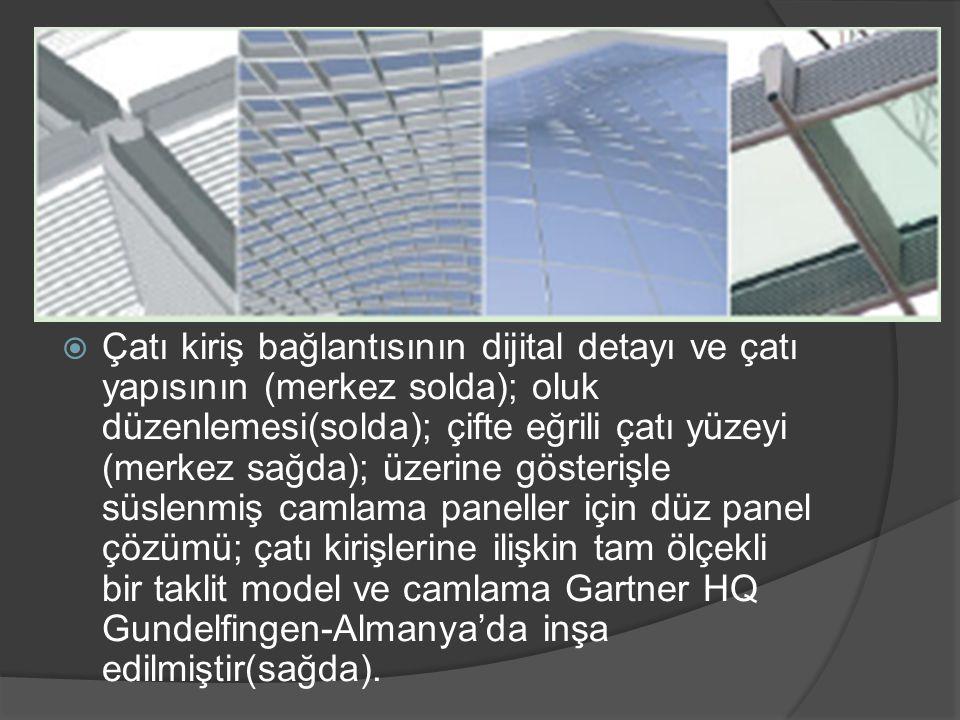 Çatı kiriş bağlantısının dijital detayı ve çatı yapısının (merkez solda); oluk düzenlemesi(solda); çifte eğrili çatı yüzeyi (merkez sağda); üzerine