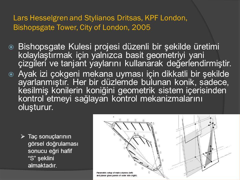 Lars Hesselgren and Stylianos Dritsas, KPF London, Bishopsgate Tower, City of London, 2005  Bishopsgate Kulesi projesi düzenli bir şekilde üretimi kolaylaştırmak için yalnızca basit geometriyi yani çizgileri ve tanjant yaylarını kullanarak değerlendirmiştir.