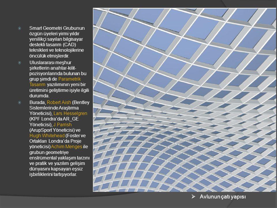  Smart Geometri Grubunun özgün üyeleri yirmi yıldır yenilikçi sayılan bilgisayar destekli tasarım (CAD) teknikleri ve teknolojilerine öncülük etmişle