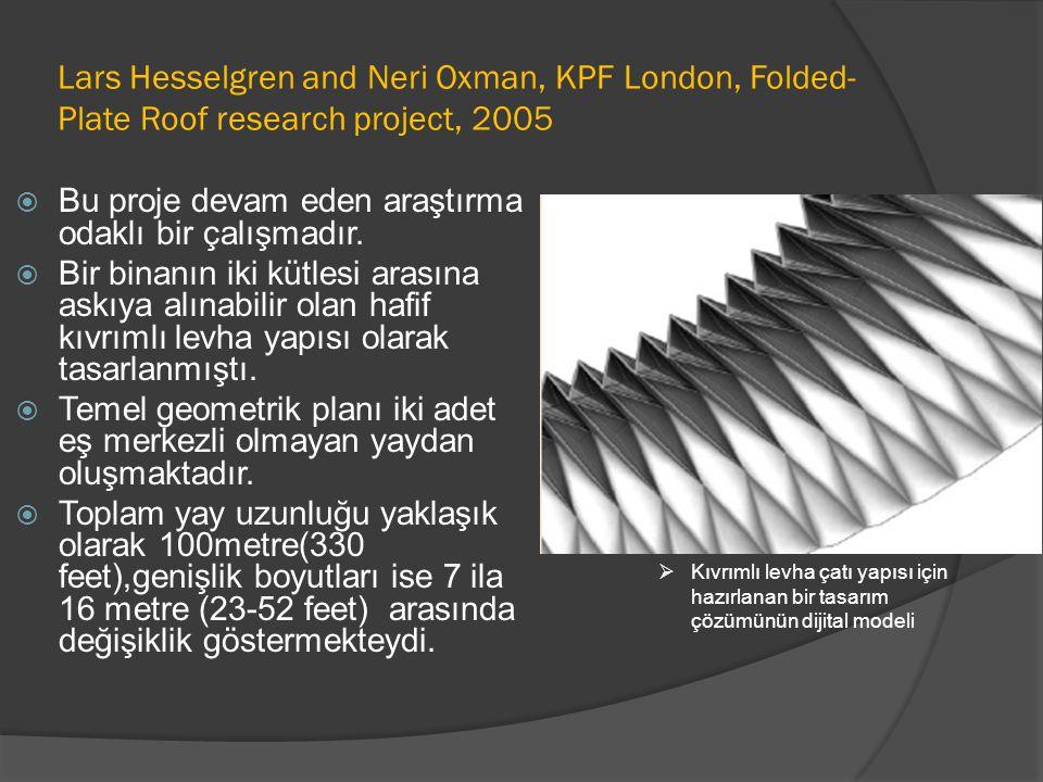 Lars Hesselgren and Neri Oxman, KPF London, Folded- Plate Roof research project, 2005  Bu proje devam eden araştırma odaklı bir çalışmadır.