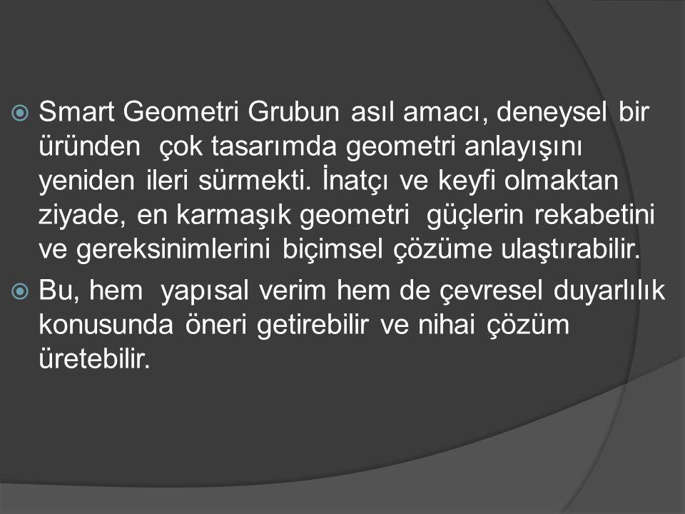  Smart Geometri Grubun asıl amacı, deneysel bir üründen çok tasarımda geometri anlayışını yeniden ileri sürmekti. İnatçı ve keyfi olmaktan ziyade, en