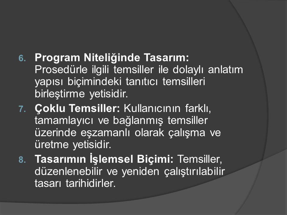 6. Program Niteliğinde Tasarım: Prosedürle ilgili temsiller ile dolaylı anlatım yapısı biçimindeki tanıtıcı temsilleri birleştirme yetisidir. 7. Çoklu