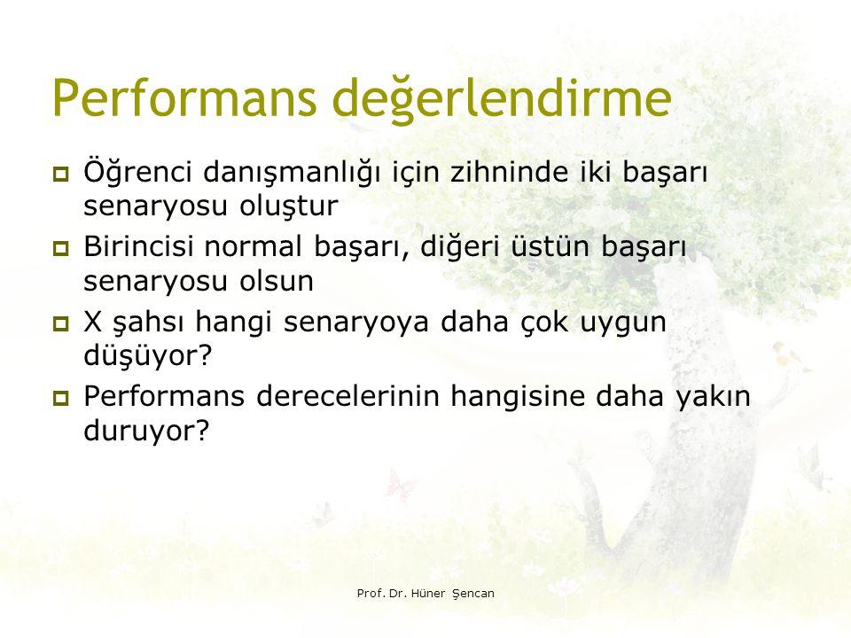 Performans değerlendirme  Öğrenci danışmanlığı için zihninde iki başarı senaryosu oluştur  Birincisi normal başarı, diğeri üstün başarı senaryosu ol