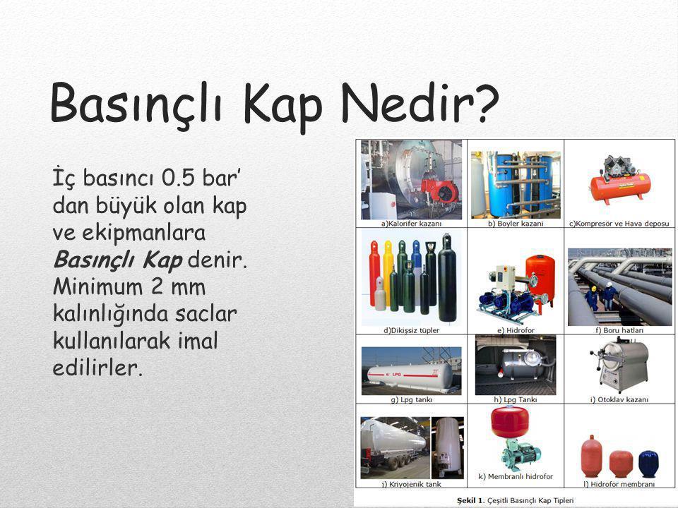 Basınçlı Kap Nedir? İç basıncı 0.5 bar' dan büyük olan kap ve ekipmanlara Basınçlı Kap denir. Minimum 2 mm kalınlığında saclar kullanılarak imal edili