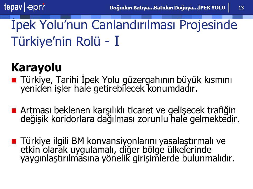 Doğudan Batıya...Batıdan Doğuya...İPEK YOLU 13 İpek Yolu'nun Canlandırılması Projesinde Türkiye'nin Rolü - I Karayolu Türkiye, Tarihi İpek Yolu güzerg
