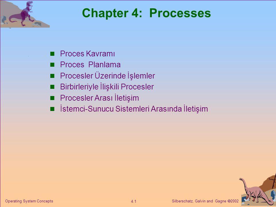 Silberschatz, Galvin and Gagne  2002 4.1 Operating System Concepts Chapter 4: Processes Proces Kavramı Proces Planlama Procesler Üzerinde İşlemler Birbirleriyle İlişkili Procesler Procesler Arası İletişim İstemci-Sunucu Sistemleri Arasında İletişim