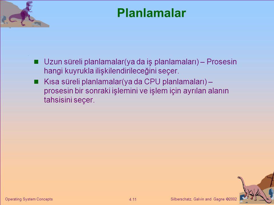 Silberschatz, Galvin and Gagne  2002 4.11 Operating System Concepts Planlamalar Uzun süreli planlamalar(ya da iş planlamaları) – Prosesin hangi kuyrukla ilişkilendirileceğini seçer.