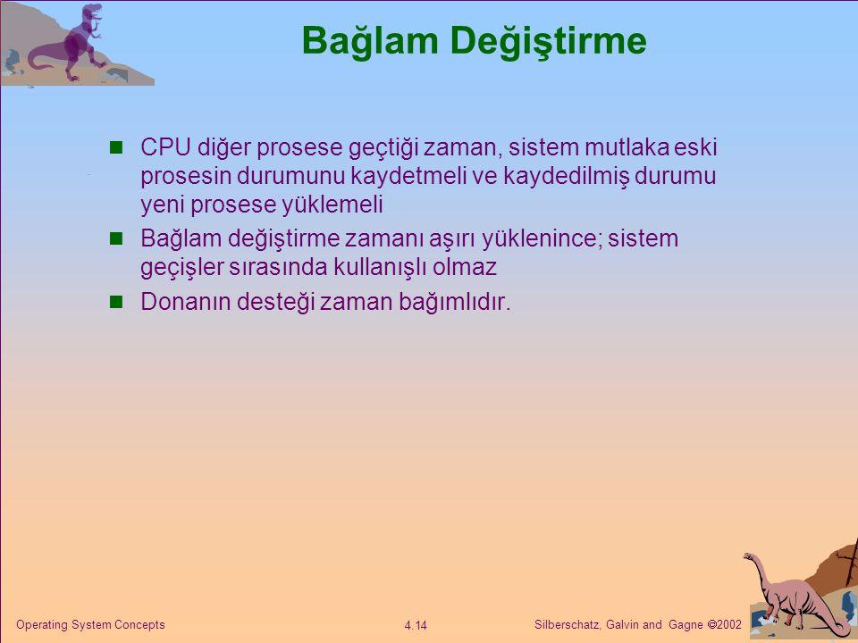 Silberschatz, Galvin and Gagne  2002 4.14 Operating System Concepts Bağlam Değiştirme CPU diğer prosese geçtiği zaman, sistem mutlaka eski prosesin durumunu kaydetmeli ve kaydedilmiş durumu yeni prosese yüklemeli Bağlam değiştirme zamanı aşırı yüklenince; sistem geçişler sırasında kullanışlı olmaz Donanın desteği zaman bağımlıdır.