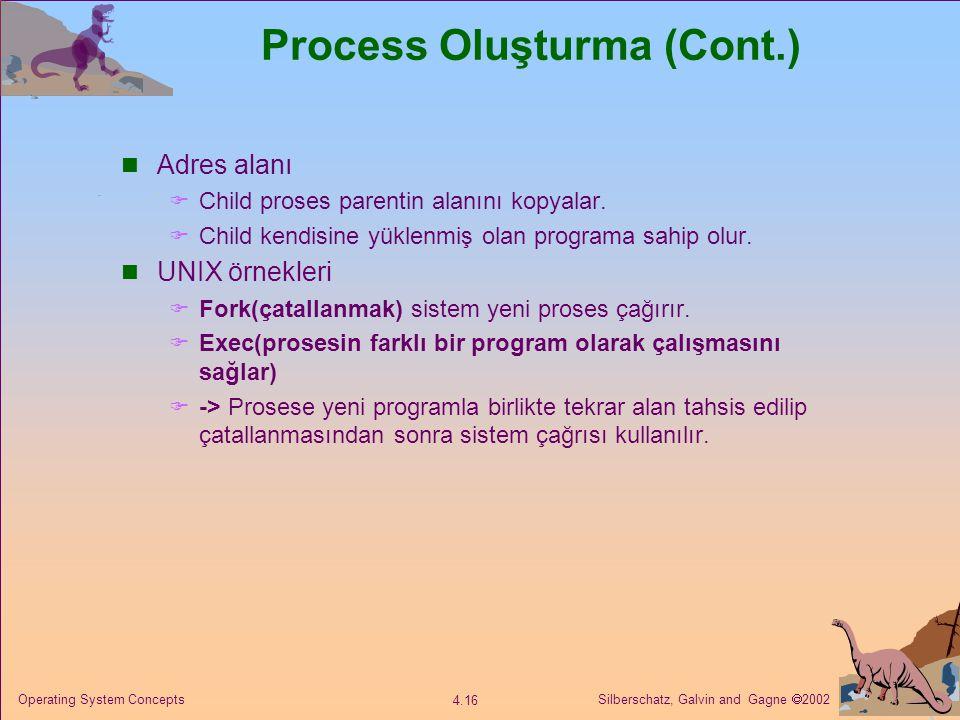 Silberschatz, Galvin and Gagne  2002 4.16 Operating System Concepts Process Oluşturma (Cont.) Adres alanı  Child proses parentin alanını kopyalar.