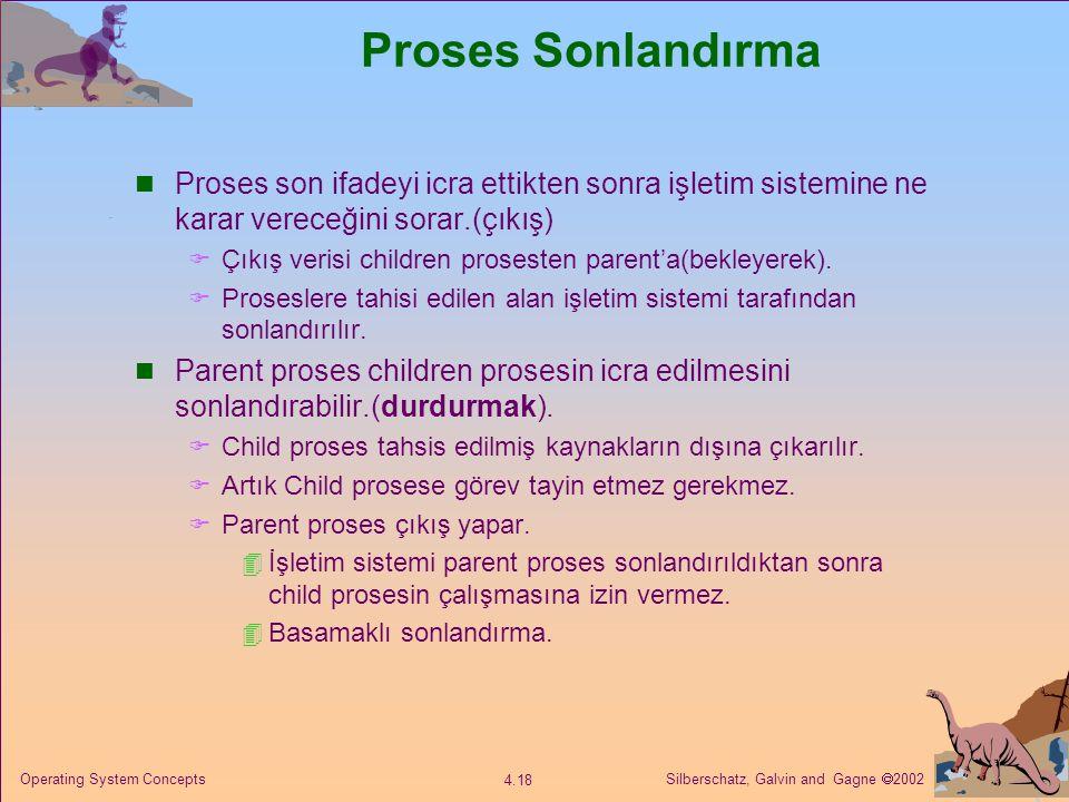 Silberschatz, Galvin and Gagne  2002 4.18 Operating System Concepts Proses Sonlandırma Proses son ifadeyi icra ettikten sonra işletim sistemine ne karar vereceğini sorar.(çıkış)  Çıkış verisi children prosesten parent'a(bekleyerek).