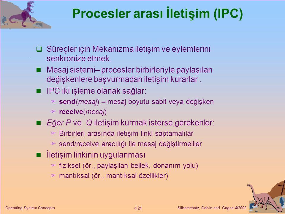 Silberschatz, Galvin and Gagne  2002 4.24 Operating System Concepts Procesler arası İletişim (IPC)  Süreçler için Mekanizma iletişim ve eylemlerini senkronize etmek.