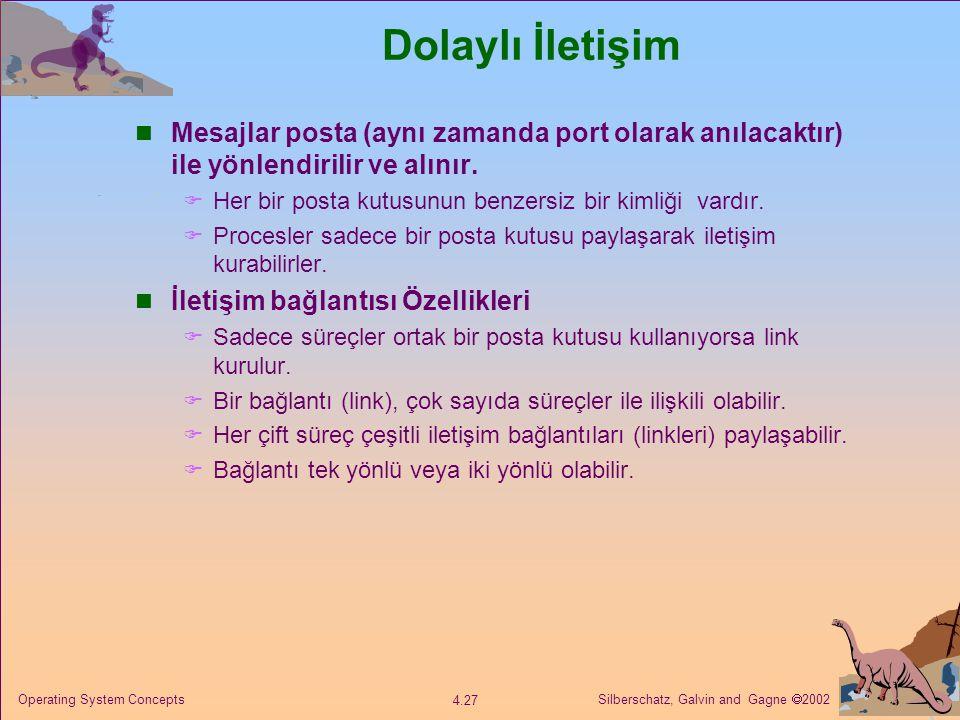 Silberschatz, Galvin and Gagne  2002 4.27 Operating System Concepts Dolaylı İletişim Mesajlar posta (aynı zamanda port olarak anılacaktır) ile yönlendirilir ve alınır.