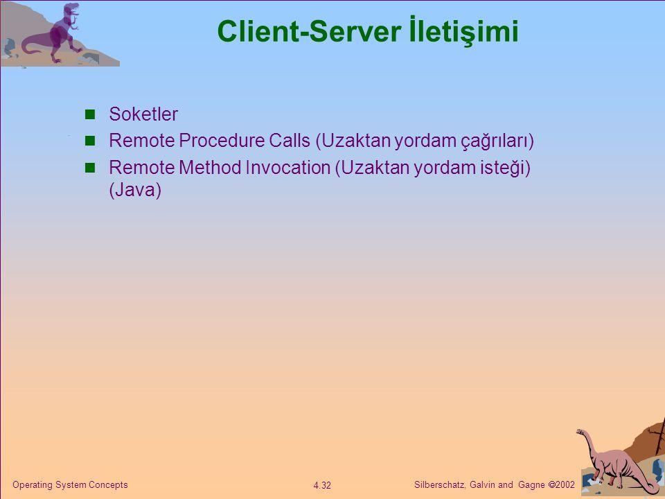 Silberschatz, Galvin and Gagne  2002 4.32 Operating System Concepts Client-Server İletişimi Soketler Remote Procedure Calls (Uzaktan yordam çağrıları) Remote Method Invocation (Uzaktan yordam isteği) (Java)