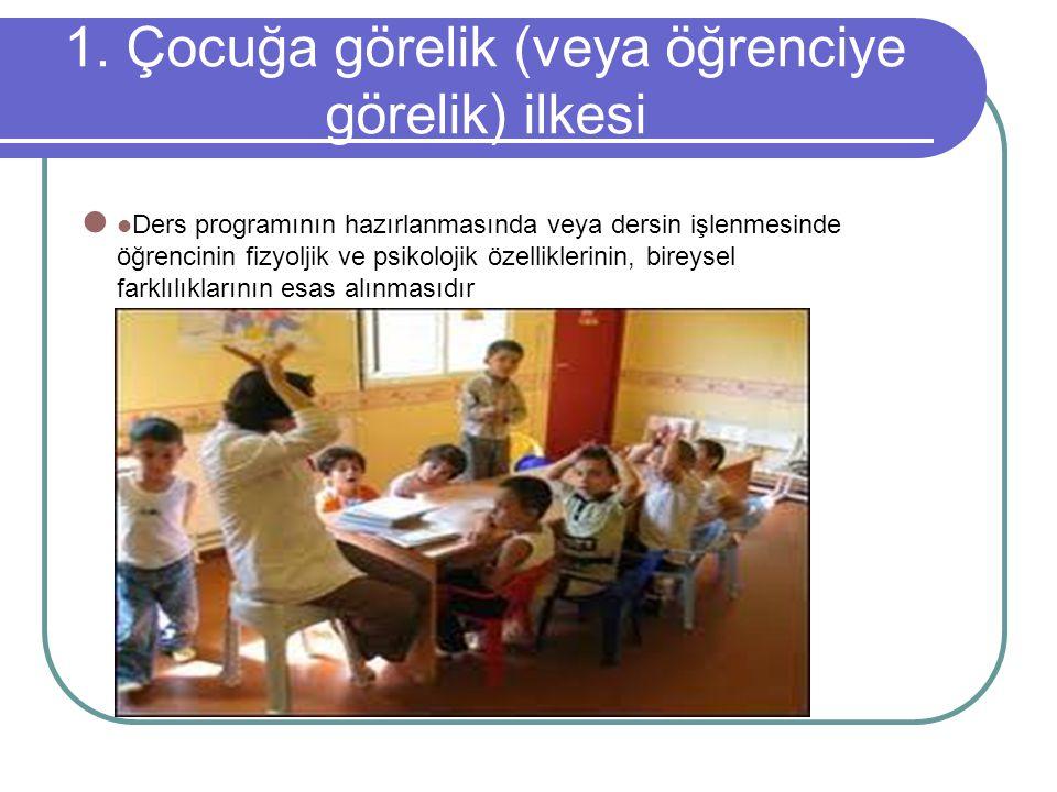 1. Çocuğa görelik (veya öğrenciye görelik) ilkesi Ders programının hazırlanmasında veya dersin işlenmesinde öğrencinin fizyoljik ve psikolojik özellik