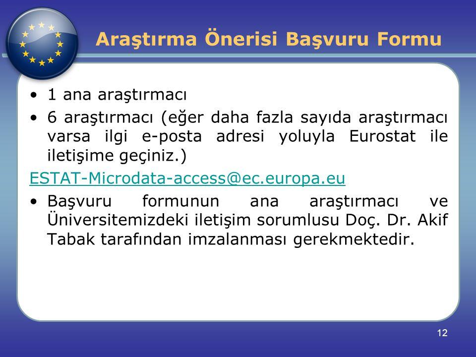 1 ana araştırmacı 6 araştırmacı (eğer daha fazla sayıda araştırmacı varsa ilgi e-posta adresi yoluyla Eurostat ile iletişime geçiniz.) ESTAT-Microdata-access@ec.europa.eu Başvuru formunun ana araştırmacı ve Üniversitemizdeki iletişim sorumlusu Doç.