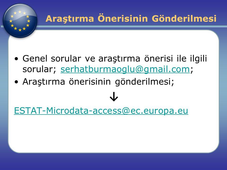 Araştırma Önerisinin Gönderilmesi Genel sorular ve araştırma önerisi ile ilgili sorular; serhatburmaoglu@gmail.com;serhatburmaoglu@gmail.com Araştırma önerisinin gönderilmesi; ↓ ESTAT-Microdata-access@ec.europa.eu