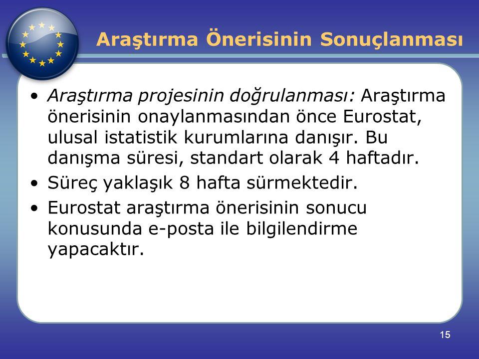 Araştırma Önerisinin Sonuçlanması Araştırma projesinin doğrulanması: Araştırma önerisinin onaylanmasından önce Eurostat, ulusal istatistik kurumlarına