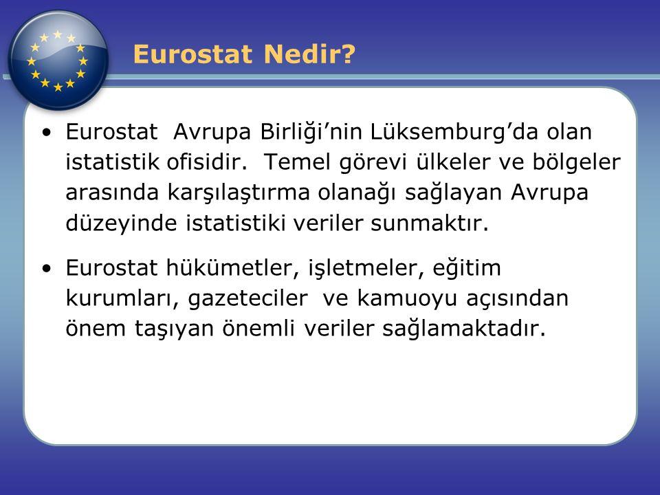 Eurostat Nedir? Eurostat Avrupa Birliği'nin Lüksemburg'da olan istatistik ofisidir. Temel görevi ülkeler ve bölgeler arasında karşılaştırma olanağı sa