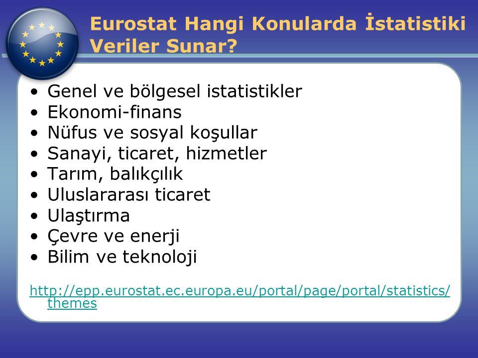 Eurostat Hangi Konularda İstatistiki Veriler Sunar? Genel ve bölgesel istatistikler Ekonomi-finans Nüfus ve sosyal koşullar Sanayi, ticaret, hizmetler