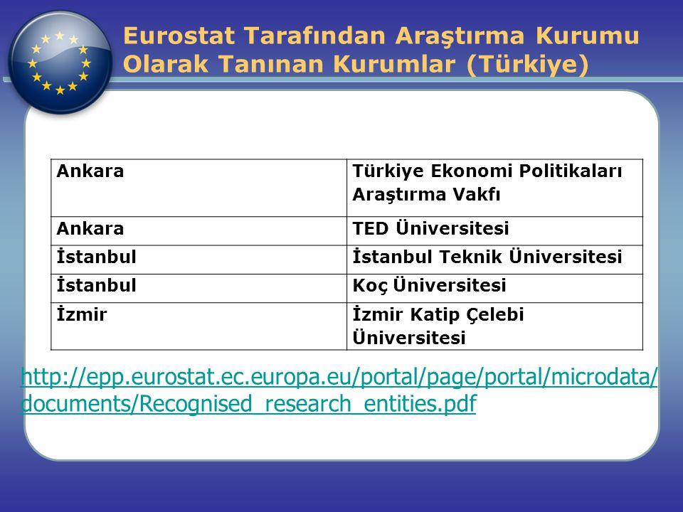 Eurostat Tarafından Araştırma Kurumu Olarak Tanınan Kurumlar (Türkiye) http://epp.eurostat.ec.europa.eu/portal/page/portal/microdata/ documents/Recogn