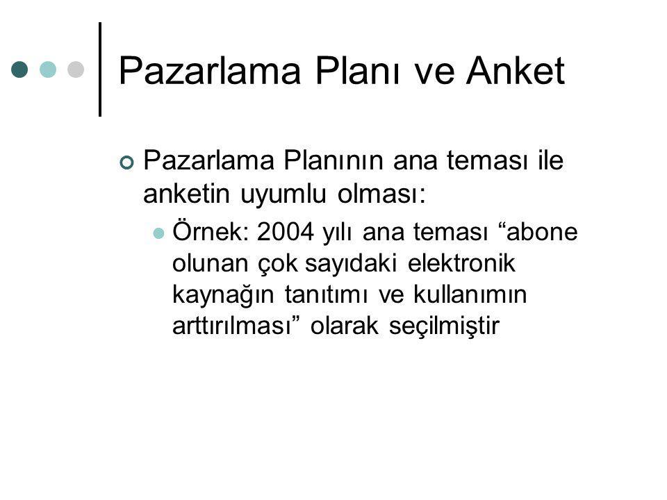 """Pazarlama Planı ve Anket Pazarlama Planının ana teması ile anketin uyumlu olması: Örnek: 2004 yılı ana teması """"abone olunan çok sayıdaki elektronik ka"""