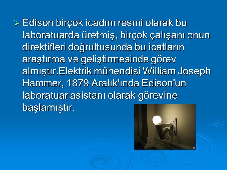  Edison birçok icadını resmi olarak bu laboratuarda üretmiş, birçok çalışanı onun direktifleri doğrultusunda bu icatların araştırma ve geliştirmesind