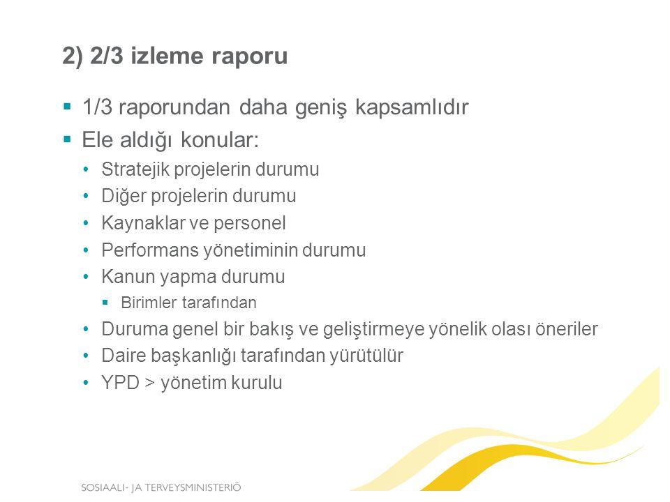 2) 2/3 izleme raporu  1/3 raporundan daha geniş kapsamlıdır  Ele aldığı konular: Stratejik projelerin durumu Diğer projelerin durumu Kaynaklar ve personel Performans yönetiminin durumu Kanun yapma durumu  Birimler tarafından Duruma genel bir bakış ve geliştirmeye yönelik olası öneriler Daire başkanlığı tarafından yürütülür YPD > yönetim kurulu