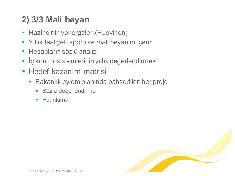 2) 3/3 Mali beyan  Hazine'nin yönergeleri (Huovinen)  Yıllık faaliyet raporu ve mali beyanını içerir.