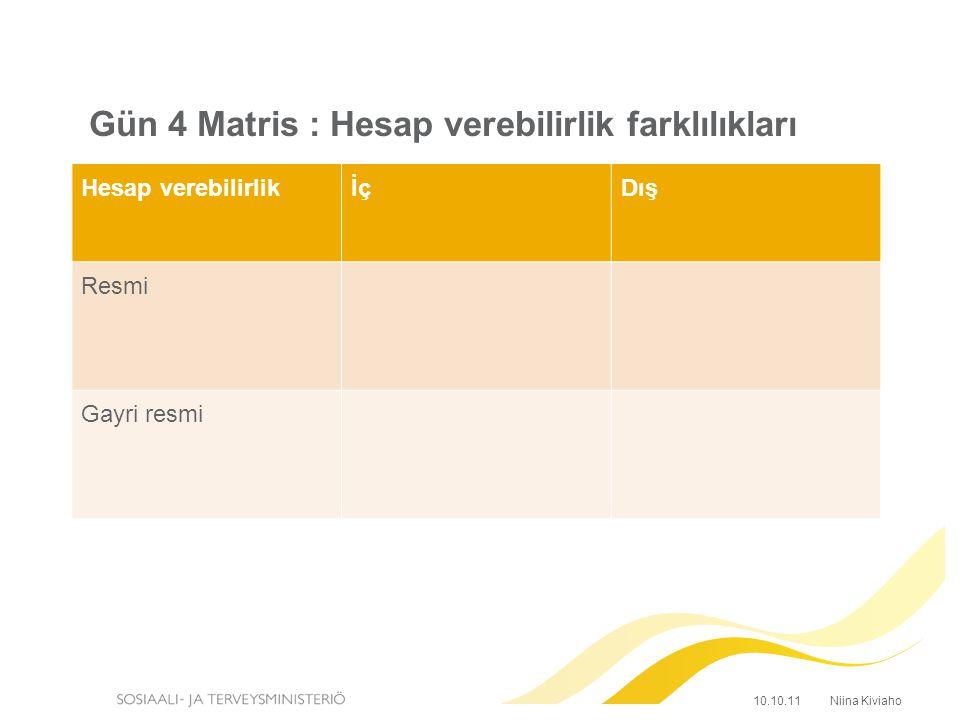 Gün 4 Matris : Hesap verebilirlik farklılıkları Hesap verebilirlikİçDış Resmi Gayri resmi Niina Kiviaho10.10.11