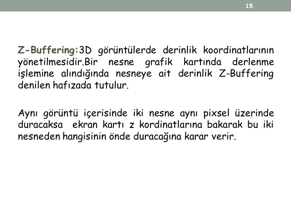 Z-Buffering:3D görüntülerde derinlik koordinatlarının yönetilmesidir.Bir nesne grafik kartında derlenme işlemine alındığında nesneye ait derinlik Z-Bu