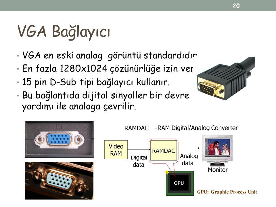 VGA Bağlayıcı VGA en eski analog görüntü standardıdır. En fazla 1280x1024 çözünürlüğe izin verir. 15 pin D-Sub tipi bağlayıcı kullanır. Bu bağlantıda