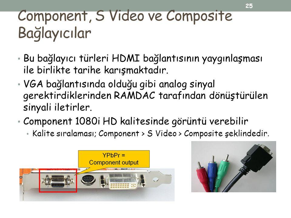 Component, S Video ve Composite Bağlayıcılar Bu bağlayıcı türleri HDMI bağlantısının yaygınlaşması ile birlikte tarihe karışmaktadır. VGA bağlantısınd