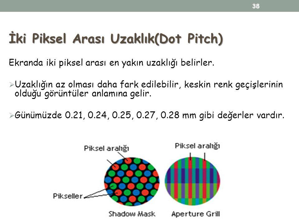 İki Piksel Arası Uzaklık(Dot Pitch) Ekranda iki piksel arası en yakın uzaklığı belirler.  Uzaklığın az olması daha fark edilebilir, keskin renk geçiş
