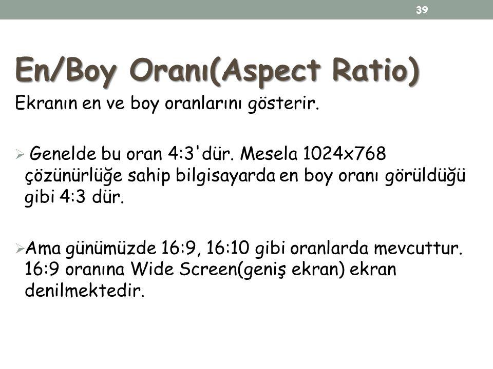 En/Boy Oranı(Aspect Ratio) Ekranın en ve boy oranlarını gösterir.  Genelde bu oran 4:3'dür. Mesela 1024x768 çözünürlüğe sahip bilgisayarda en boy ora