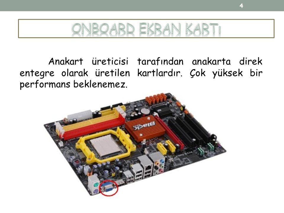 Anakart üreticisi tarafından anakarta direk entegre olarak üretilen kartlardır. Çok yüksek bir performans beklenemez. 4