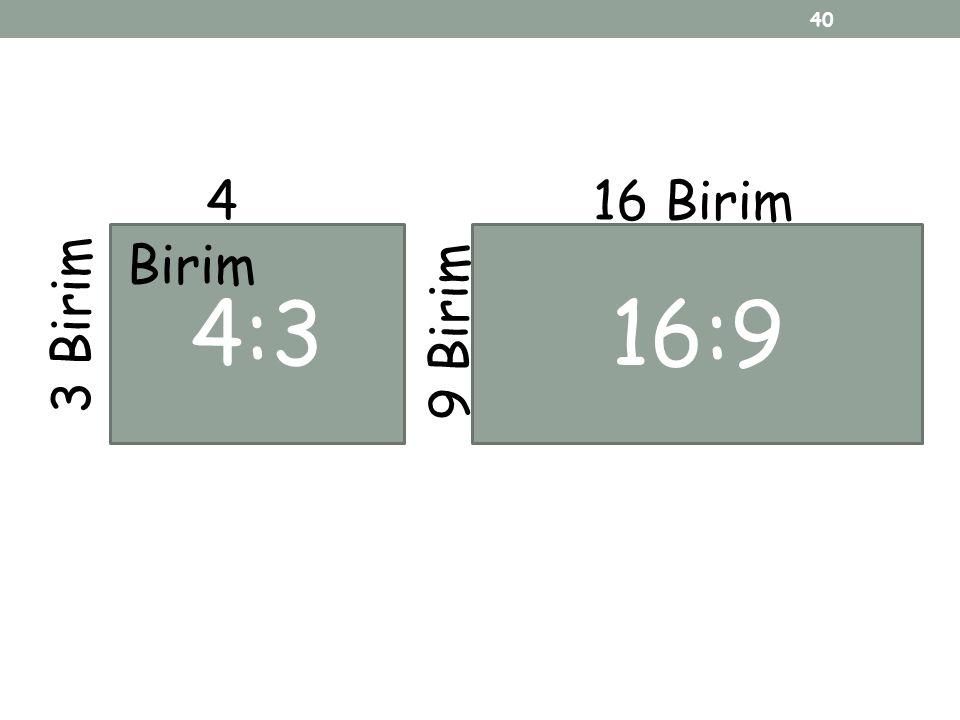 4:3 4 Birim 3 Birim 16:9 16 Birim 9 Birim 40